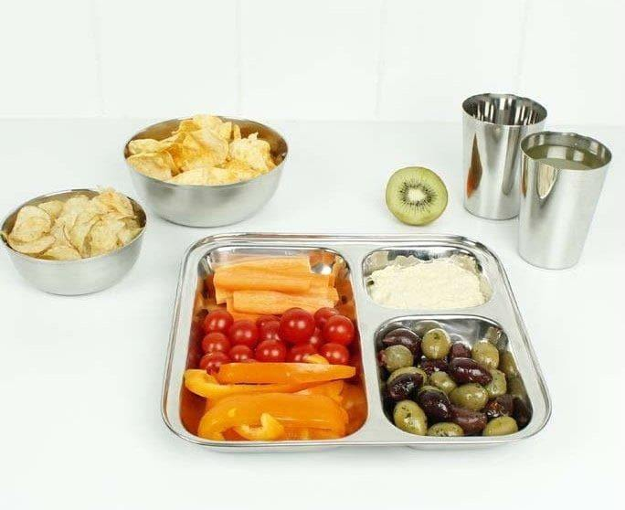 Stainless Steel Divided Serving Plate with food