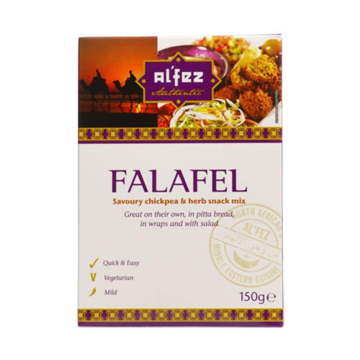 Al'Fez authentic Falafal, savoury chickpea and herb snack mix.