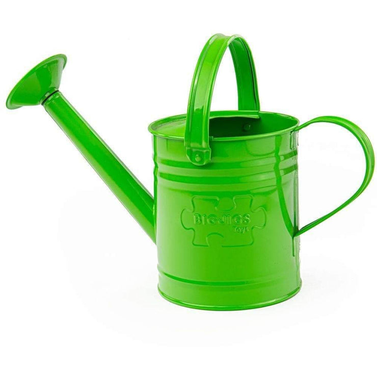 Bigjigs toy green steel watering can.