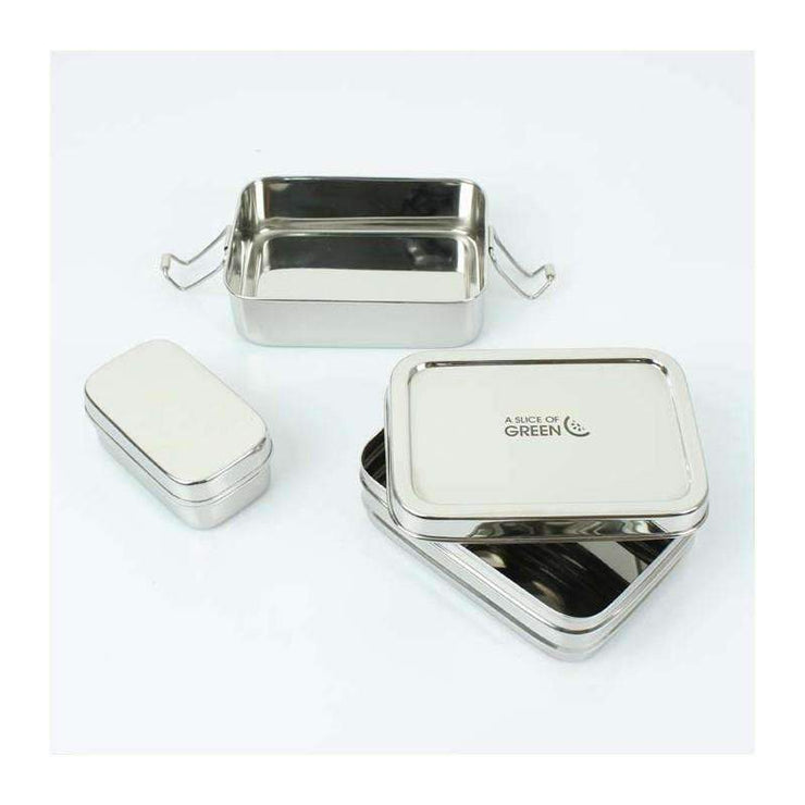 Stainless steel two tier lunch box opened with mini container out