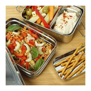 Stainless steel two tier lunch box open with food inside