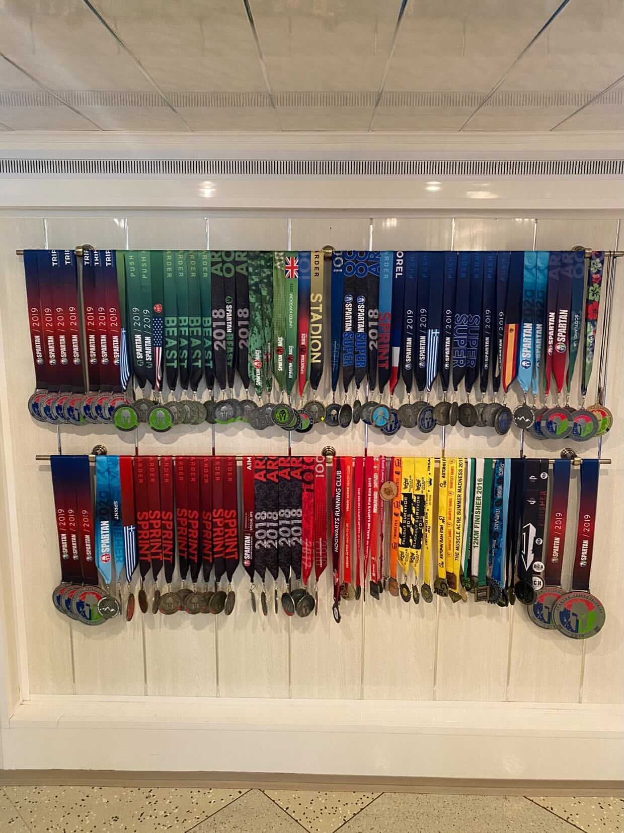 Samantha's medals hung on the wall
