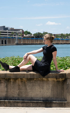 Model pictured wearing Black Silk FlutterCut™ Skirt