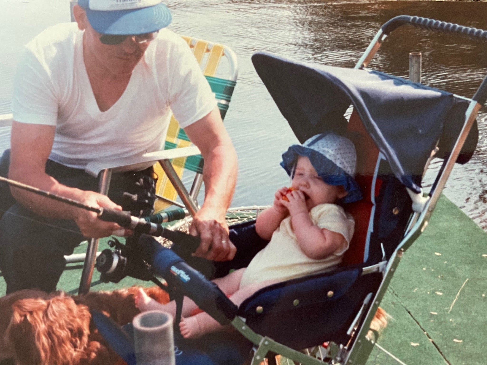 Young Becky in stroller