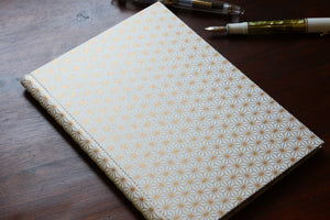 Chiyogami A5 Tomoe River Notebook - White and Gold Asanaho