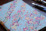 Chiyogami A6 Tomoe River Notebook - Blue and Pink Flowers