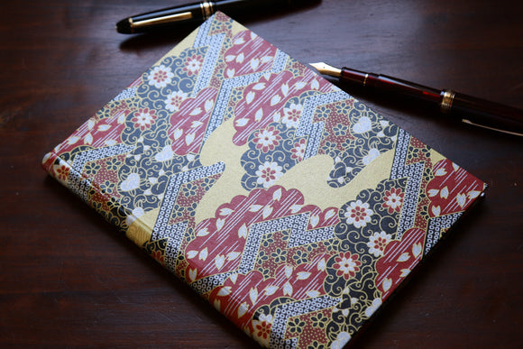 Chiyogami A5 Tomoe River Notebook - Black and Red Flowers