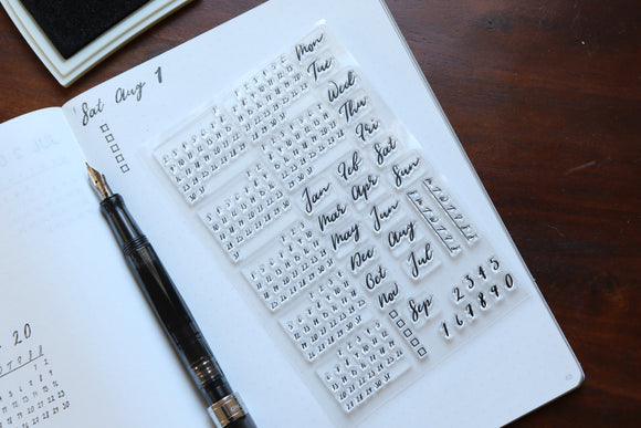 Calendar Stamp Kit – Brush Font