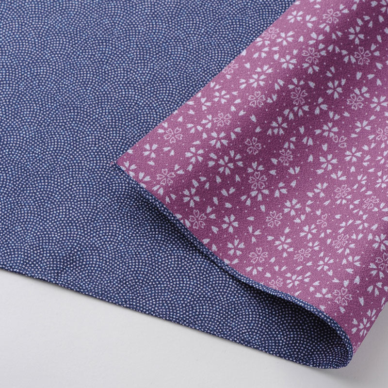 45 Polyester Amunzen Reversible | Fine Sharkshin Pattern / Sakura Navy Blue/Rose