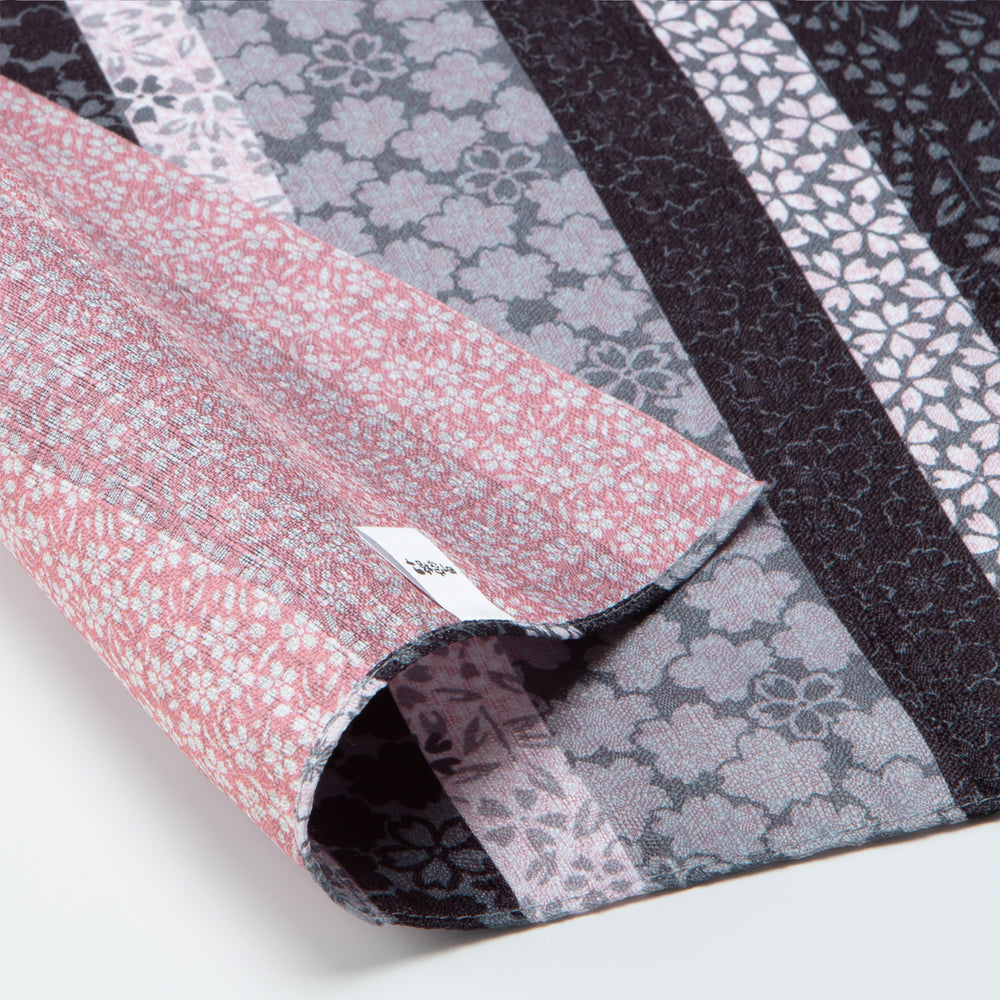 Double Sided Furoshiki Wrapping Cloth | Sakura Stripes Black & Pink by Sanyo Shoji - Bento&co Japanese Bento Lunch Boxes and Kitchenware Specialists