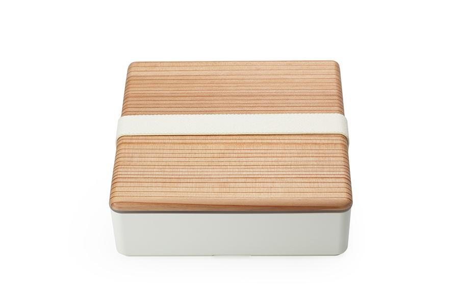 Wood Lid Ojyu Bento | White