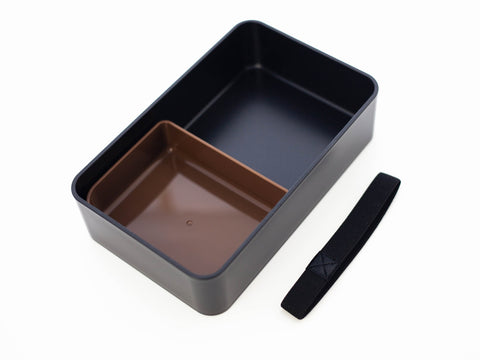 Woodgrain One Tier Bento Box 1000mL | Black
