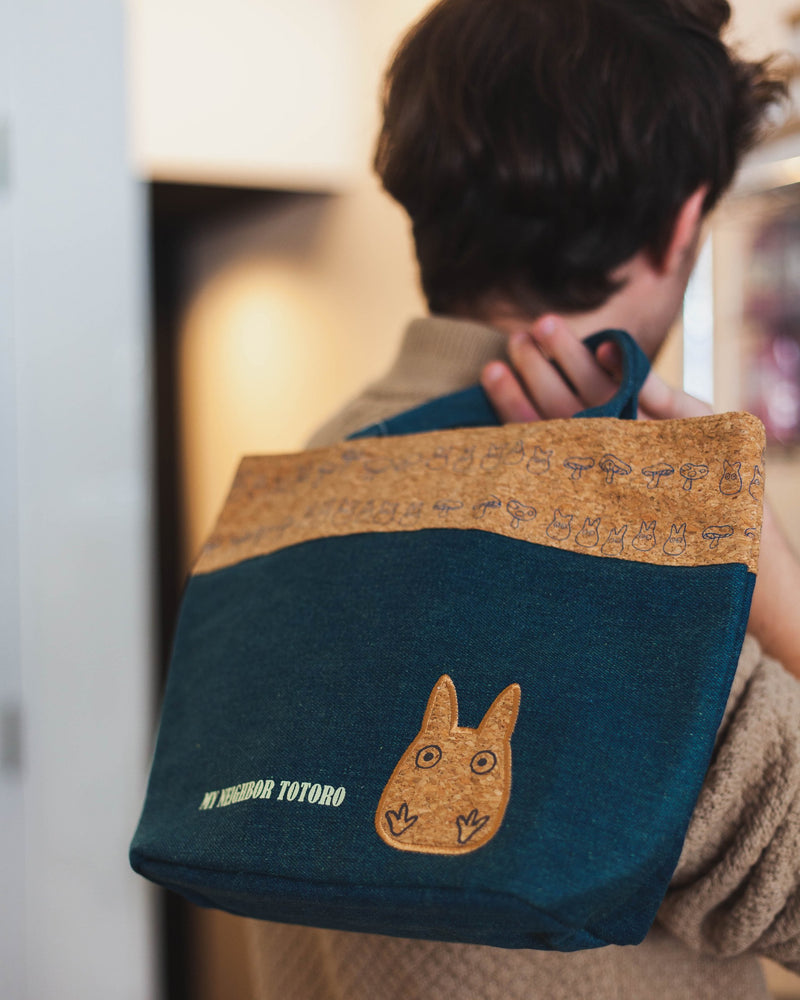 Totoro Tote Bag Denim x Cork