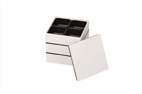 White Three Tier Picnic Bento Box 15cm