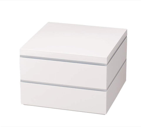 White Two Tier Picnic Bento Box 21cm