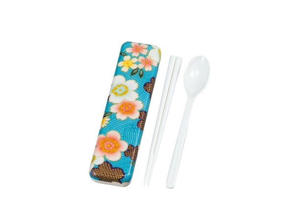 Kaga Sakura Chopsticks & Spoon Set | Blue