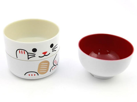 Big Kokeshi Bento Maneki-Neko | White