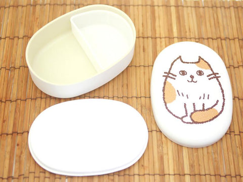 Oval Cat Bento Box | Osumashi White