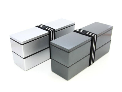 Nagabako Metallic Two Tier Bento Box | Silver