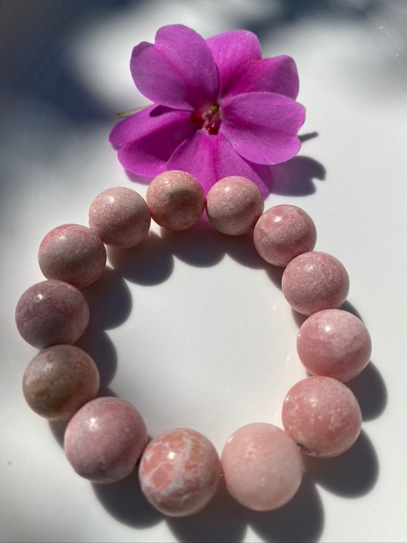 16mm Matte Rhodonite Gemstone Bracelet