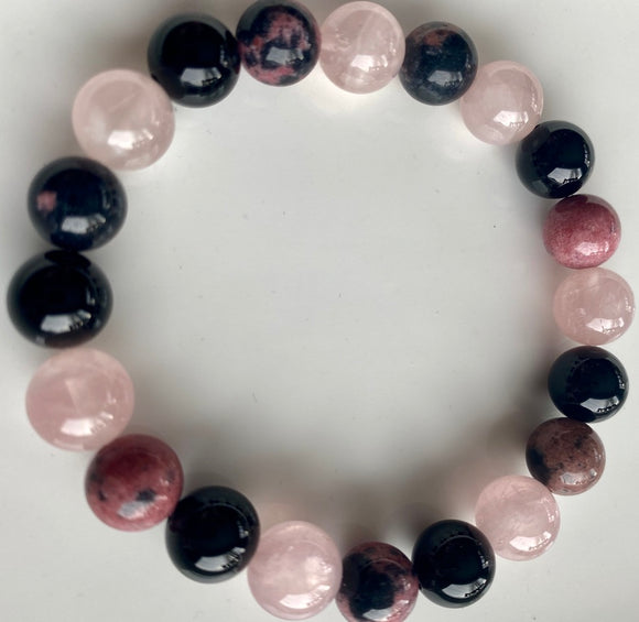 10mm Rhodonite, Rose Quartz & Onyx Bracelet