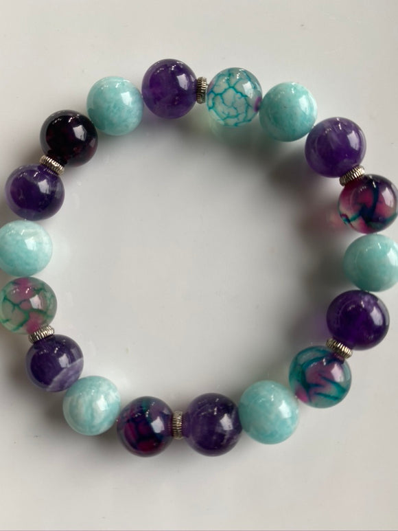 10mm Amethyst, Dragon Vein & Amazonite Gemstone Bracelet