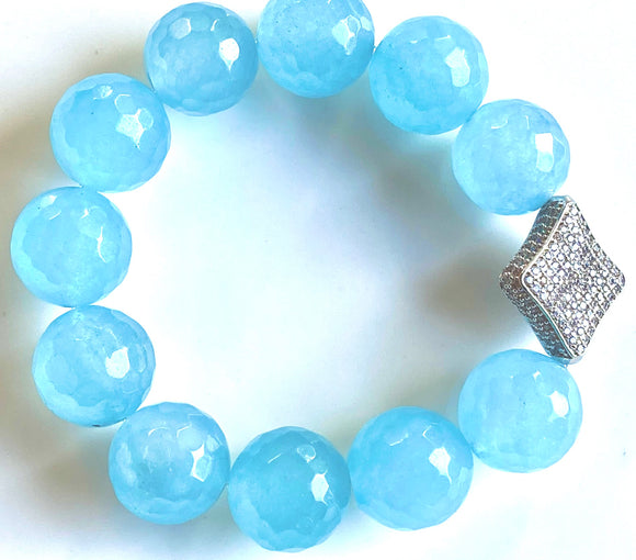 16mm Blue Quartz Gemstone Bracelet