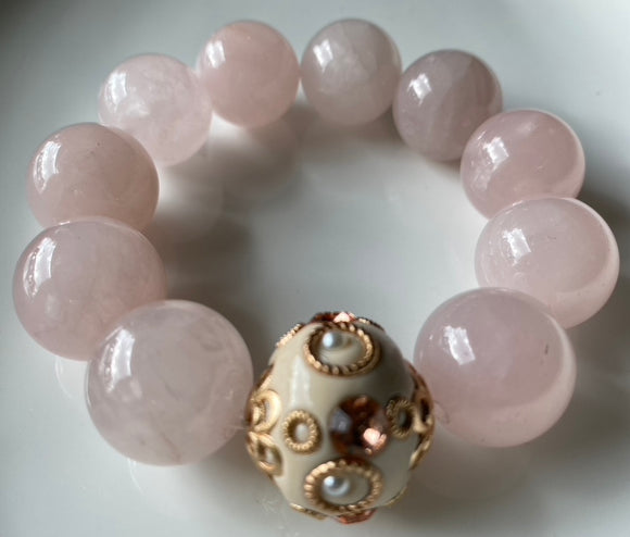 20mm Rose Quartz Gemstone Bracelet
