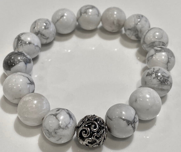 12mm White Howlite Bracelet