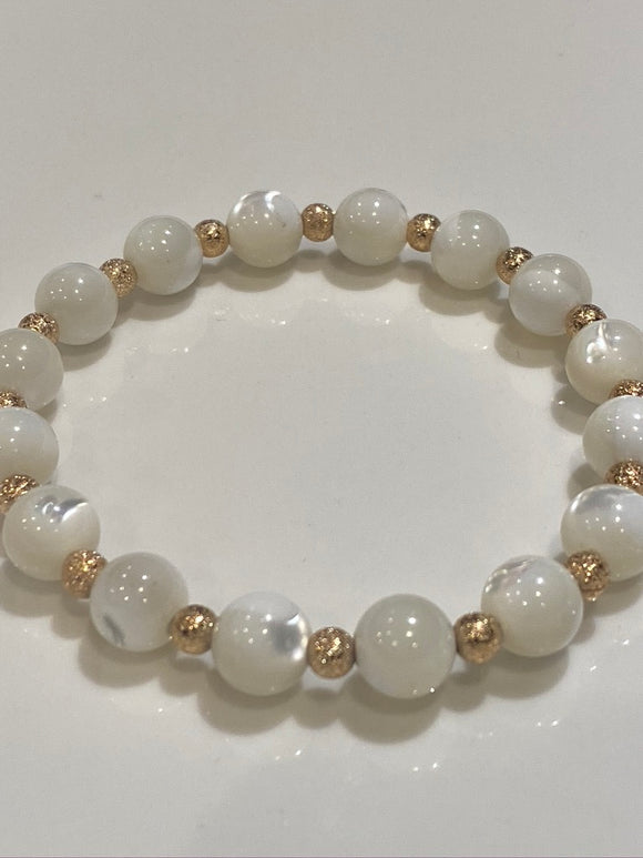 8mm Mother of Pearl Gemstone Bracelet