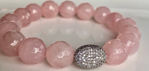 12mm Faceted Rose Quartz Bracelet