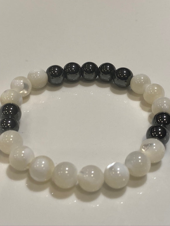 8mm Mother of Pearl & Hematite Gemstone Bracelet