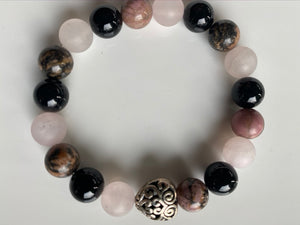 10mm Rhodonite, Pink Quartz and Onyx Gemstone Bracelet