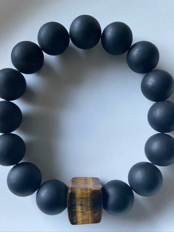 14mm Matte Black Onyx & Tiger's Eye Gemstone Bracelet