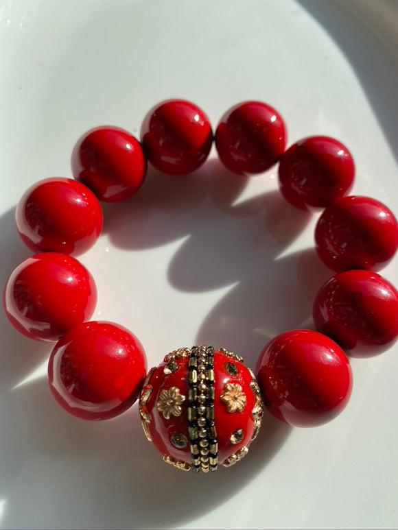 20mm Red Jade Gemstone Bracelet