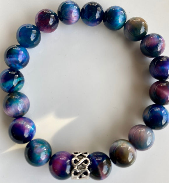 10mm Dyed Multi Tiger's Eye Bracelet
