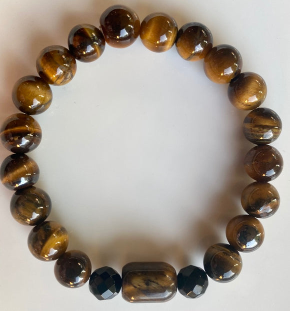 10mm Tiger's Eye & Onyx Gemstone Bracelet
