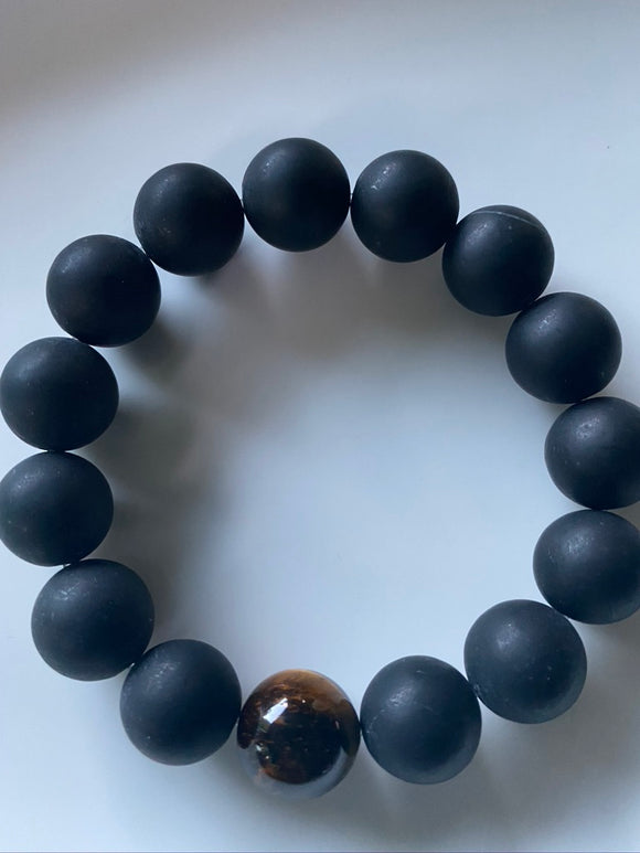 14mm Matte Onyx & Tiger's Eye Gemstone Bracelet