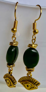 Jade Eye Earrings Gold