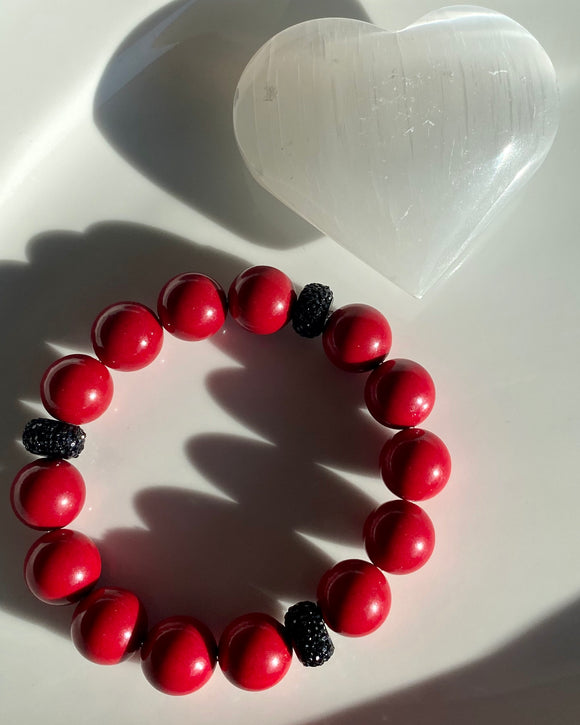 14mm Red Jade Bracelet