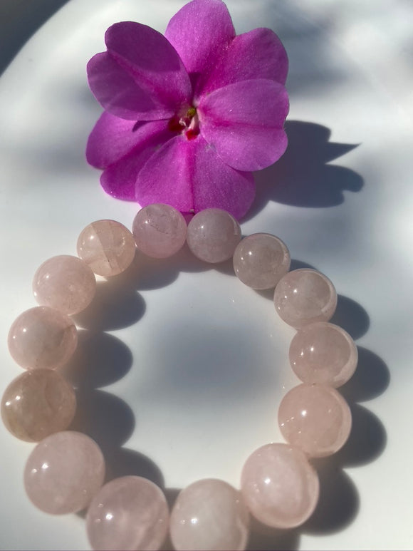 14mm Rose Quartz Gemstone Bracelet