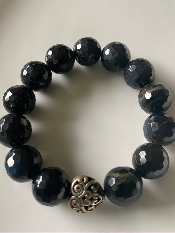 14mm Blue Tiger's Eye Gemstone Bracelet