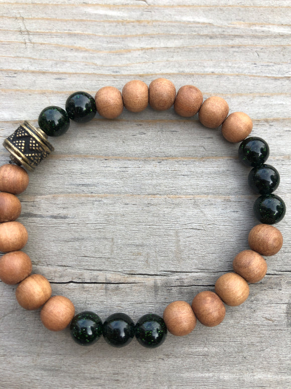 Sandalwood & Goldstone Gemstone Bracelet
