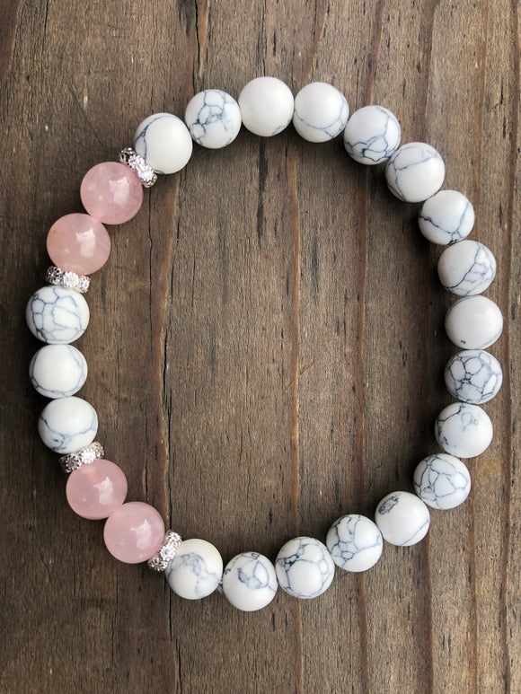 Rose Quartz & White Sea Bamboo Coral Bracelet
