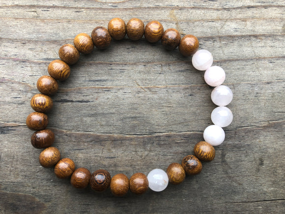 Rose Quartz Gemstone & Wood Bead Bracelet