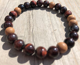 Red Tiger's Eye & Sandalwood Gemstone Bracelet