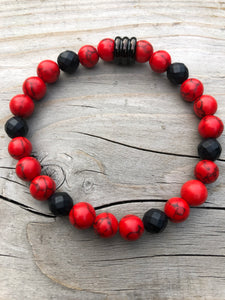 Red Sea Bamboo & Faceted Onyx Gemstone Bracelet
