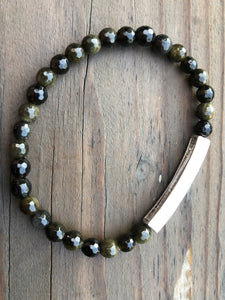 Mini Faceted Obsidian Gemstone Bracelet