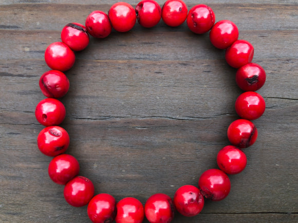 8mm Red Coral Gemstone Bracelet