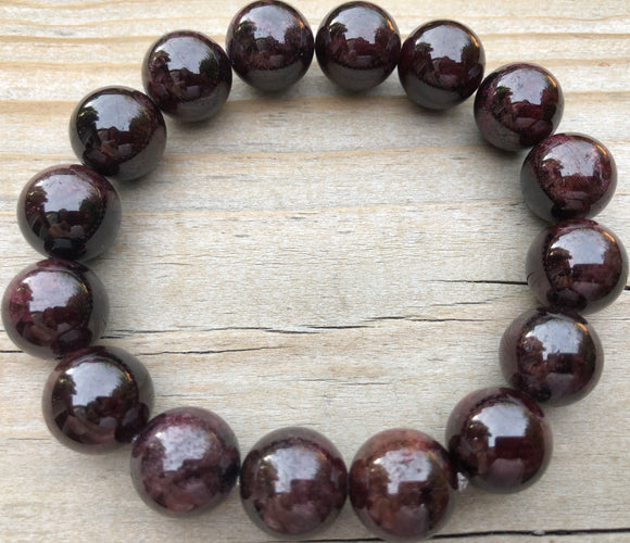 14mm Garnet Gemstone Bracelet